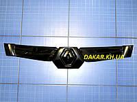 Зимняя заглушка решётки радиатора 3 спицы верх Renault Kangoo 2005-2007 глянец Fly. Утеплитель решётки Рено
