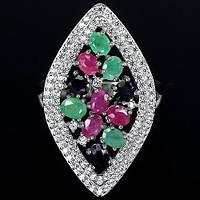 Изумруд рубин сапфир кольцо с изумрудом рубином сапфиром в серебре 18-18,3 размер. Тайланд!, фото 1