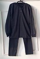 Теплая мужская пижама из футера с начесом черного цвета 46-54 р