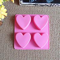4 дырки сердце торта силикона прессформы прессформы мыла ручной работы термоустойчивость