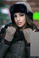 Зимний набор вязанная шапка ушанка с митенками на флисе