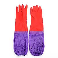 Пара Wash для очистки Длинные рукава резиновые из латекса перчатки Кашемир Кухня Бытовая мытья посуды Рукава