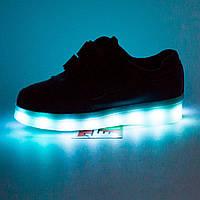 Детские черные светящиеся кроссовки Led на липучке