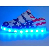Женские кроссовки детские кроссовки Светящиеся кроссовки Led низкие (флаг, липучка)