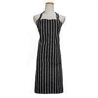 Взрослые регулируемые черные белые полосы кухня фартук шеф-повар униформы с 2 карманами