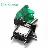 10x зеленый покров автомобиля LED SPST переключатель управления тумблер 12v 20а