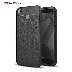 Протиударний TPU чехол під шкіру Xiaomi Redmi 4X чорний
