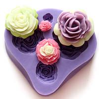 4 разных размеров розы помадной массы торт украшения формы