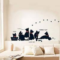 Съемный черный кот семьи стикер стены комнаты фон декора наклейки на стены