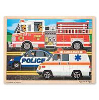 """Деревянный пазл начального уровня """"Спецмашины"""" 24 эл. / To the Rescue! (24pc) ТМ Melissa & Doug MD9062"""