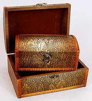 """Набор из двух деревянных шкатулок """"Сундучок Золотая Кожа"""", 22x15x11см и 18x11x8см"""