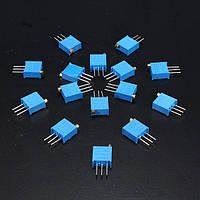 15 шт 100Ом до 500kΩ 3296w переменный резистор триммера облицовку горшок набор комплект