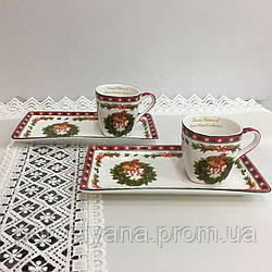 Чашки с блюдцами 65 мл 2 шт фарфор