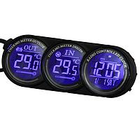Цифровой автомобиль синий LED внутри вне часы календарь термометр