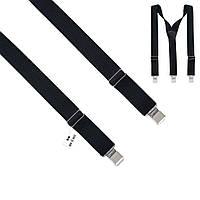 Подтяжки Bow Tie House мужские длинные черные Y4 cm - Швейцария 09887L