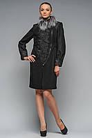 Пальто женское дизайнерское черное Версаль, фото 1
