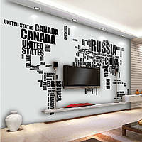 DIY большой карте мира с помощью настенных наклеек английский алфавит наклейки съемный Наклейка на стену