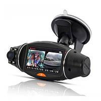R310 Автомобильный видеорегистратор с двумя объективами камера черточки GPS G-сенсор рекордер 2.7inch