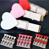 10pcs любят сердечные деревянные скрепки фотобумаги одежды