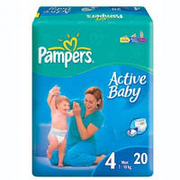 Подгузники 4 Maxi 7-14кг 20шт Active baby Pampers 1/1