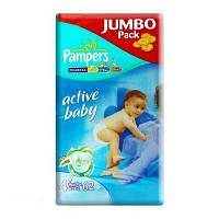 Подгузники 4+ Maxi+ 9-16кг 62шт Active baby Jumbo Pampers 1/1