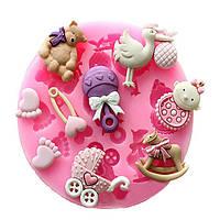 Детская универсальная коляска медведь карусель силиконовые плесень fondant торт украшение mold