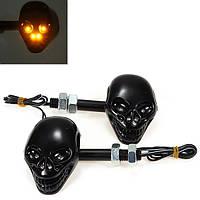 2x мотоцикл череп головы повернуть световой индикатор 12v 4 LED янтарный свет