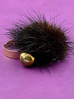 047490-999 Кольцо 'Fashion' Мех натуральный   женское кольцо с мехом