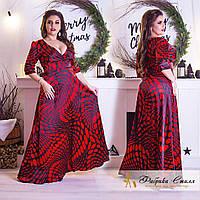Шелковое платье  в пол больших размеров 50+  с абстрактным принтом  / 3 цвета арт 3305-29