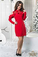 Платье Новогоднее красное футляр волан+
