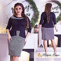Красивое платье  больших размеров 48 + с баской, принт гусинная лапка  арт 3315-29