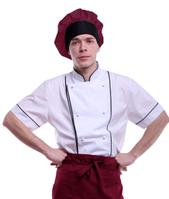 Колпак повара черно-бордовый