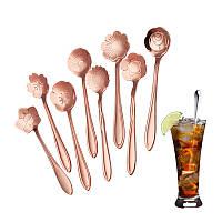 KCASA KC-FS03 Розовое золото Цветочная форма из нержавеющей стали Кофе Сахарная ложка Совок Чайные ложки Посуда