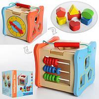 Деревянная игрушка Игра MD 1002 (24шт) куб,сортер,фигурки8шт,счеты,часы,в кор-ке,18-18-18см