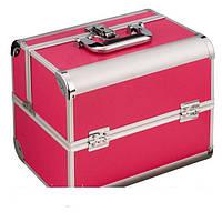 Алюминиевый кейс для косметики, цвет - малиновый, матовый
