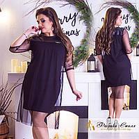 Платье комбинированное с сеткой и эко-кожей, размеры от 42 до 54  / 2 цвета  арт 3320-29