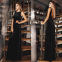 Женское Платье из бархата длинное с открытой спиной