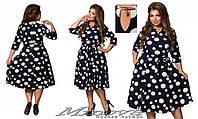 Платье женское в горошек Вивьен, батал  размер 50-56