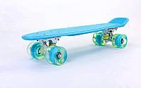Пенни борд Penny led Wheel Fish 22 дюйма (голубой)