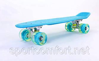 Пенні борд Penny led Wheel Fish 22 дюйма (блакитний)