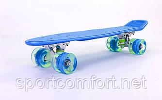 Пенні борд Penny led Wheel Fish 22 дюйма (ніжно-синій)