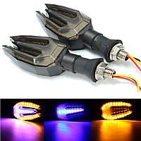 12V Двойной цвет LED Сигнал поворота Янтарный фиолетовый мотоцикл Индикатор работает тормозной свет