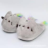 Тапочки домашние pusheen cat , цвет серый