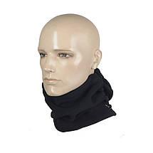 Балаклава универсальная флисовая (шапка, шарф, балаклава) чёрная, фото 3