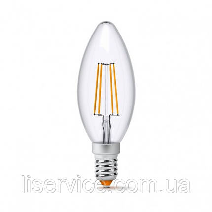 LED лампа VIDEX Filament C37F 4W E14 4100K 220V, фото 2