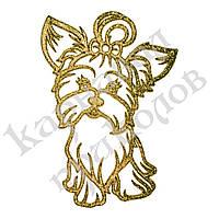 Украшение Собака Йорк пластик 12х9см (золото)