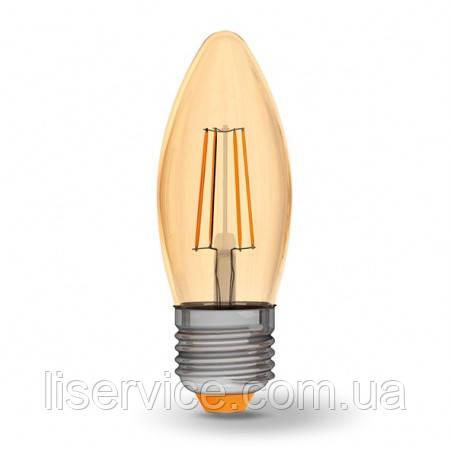LED лампа VIDEX Filament C37FA 4W E27 2200K 220V бронза