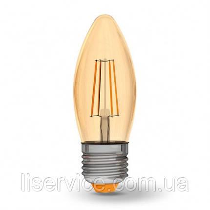 LED лампа VIDEX Filament C37FA 4W E27 2200K 220V бронза, фото 2