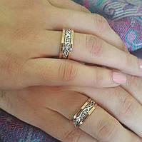 Серебряные серьги и кольцо с зотыми накладками