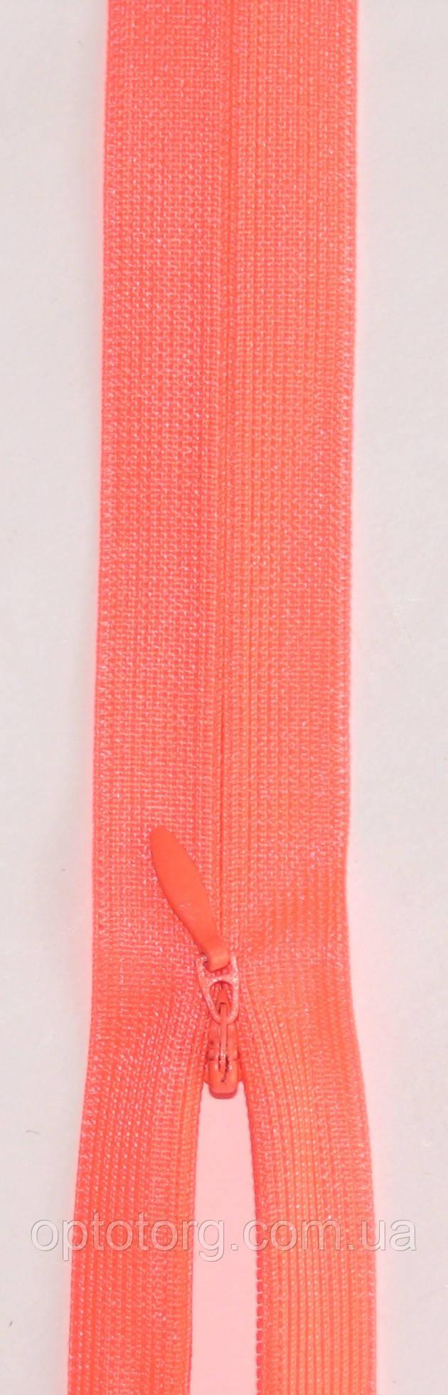 Потайная неразъёмная молния ультра розовый одинарная длина 50см оптом от optotorg.com.ua